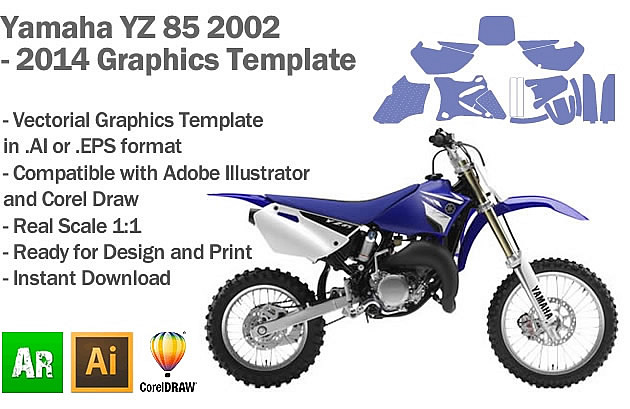 Yamaha YZ 85 MX Motocross 2002 2003 2004 2005 2006 2007 2008 2009 2010 2011 2012 2013 2014 Graphics Template