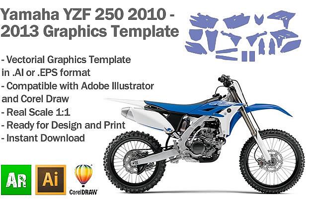 Yamaha YZF 250 MX Motocross 2010 2011 2012 2013 Graphics Template