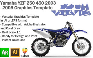 Yamaha YZF 250 450 MX Motocross 2003 2004 2005 Graphics Template
