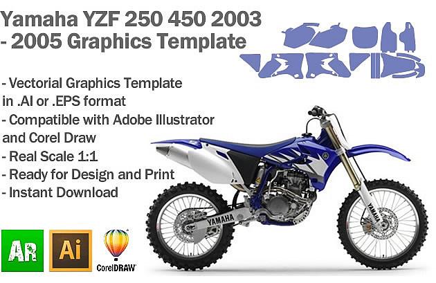 Yamaha YZF 250 450 MX Motocross 2003 2004 2005 Graphics Template