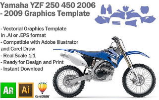 Yamaha YZF 250 450 MX Motocross 2006 2007 2008 2009 Graphics Template