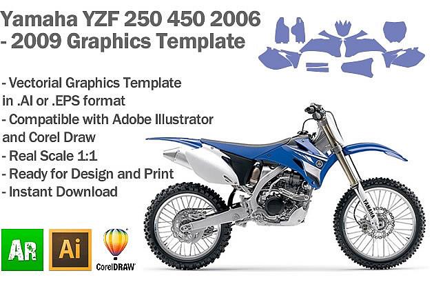 Yamaha YZF 250 450 MX Motocross 2006 2007 2008 2009 Graphics Template