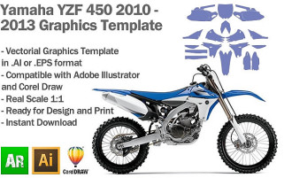 Yamaha YZF 450 MX Motocross 2010 2011 2012 2013 Graphics Template