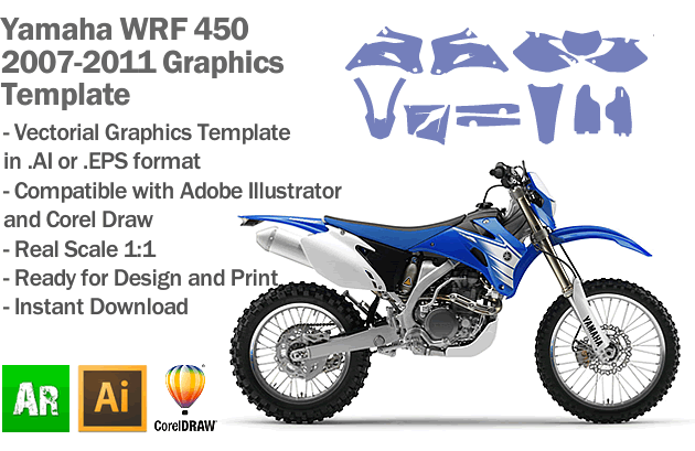 Yamaha WRF 450 Enduro 2007 2008 2009 2010 2011 Graphics Template