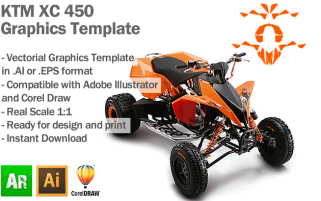 KTM XC 450 ATV Quad Graphics Template