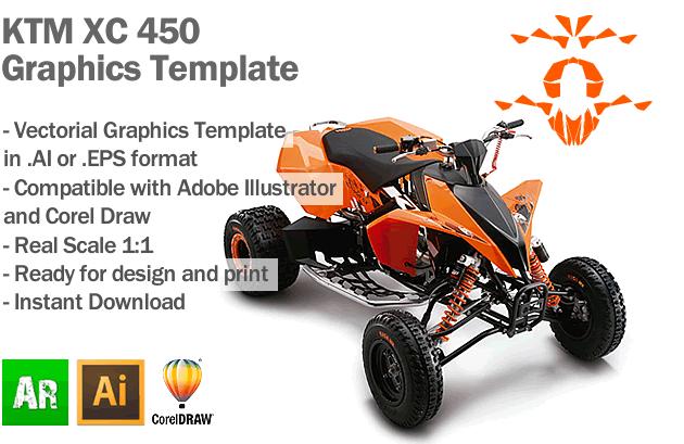 KTM XC 450 ATV Quad Graphics Template