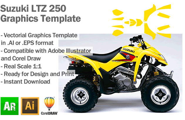 Suzuki LTZ 250 ATV Quad Graphics Template