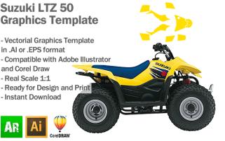 Suzuki LTZ 50 ATV Quad Graphics Template