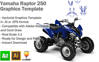 Yamaha Raptor 250 ATV Quad 2008 2009 2010 2011 2012 Graphics Template