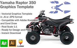 Yamaha Raptor 350 ATV Quad Graphics Template