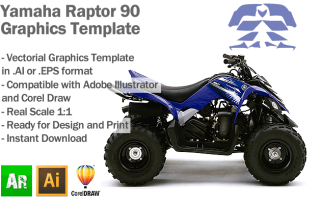 Yamaha Raptor 90 ATV Quad Graphics Template