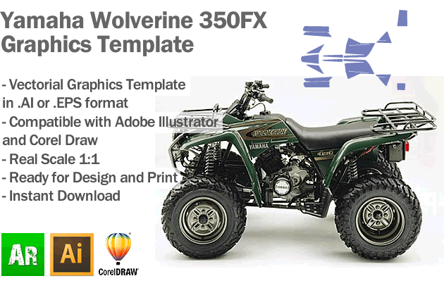 Yamaha Wolverine 350FX ATV Quad 2003 2004 Graphics Template