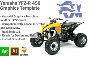 Yamaha YFZ-R 450 ATV Quad 2003 2004 2005 2006 2007 2008 Graphics Template