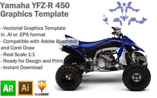 Yamaha YFZ-R 450 ATV Quad 2009 2010 2011 2012 2013 2014 2015 Graphics Template
