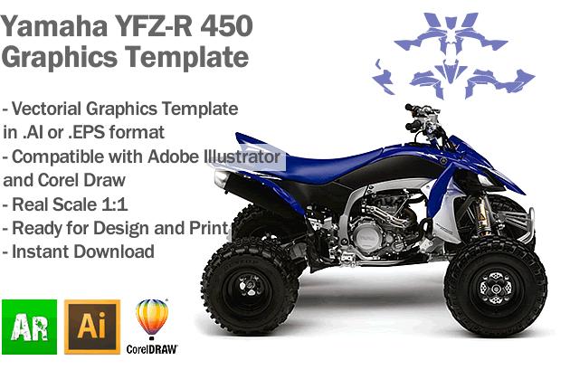 Yamaha YFZ-R 450 ATV Quad 2009 2010 2011 2012 2013 2014 2015 Graphics Template
