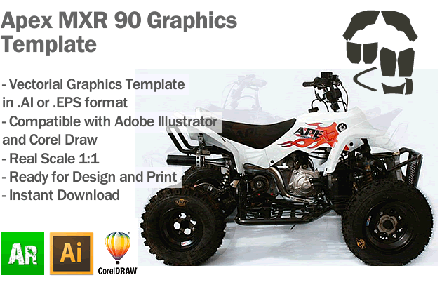 Apex MXR 90 ATV Quad Graphics Template