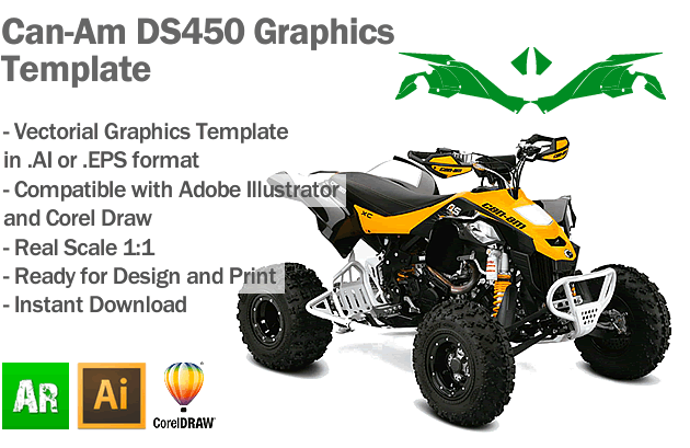 Can-Am DS450 ATV Quad Graphics Template