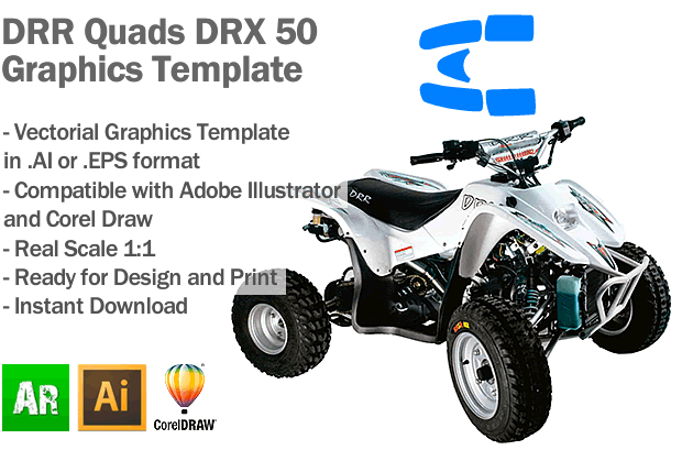 DRR Quads DRX 50 ATV Quad Graphics Template