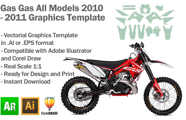 Gas Gas Enduro MX Motocross All Models 2010 2011 Graphics Template