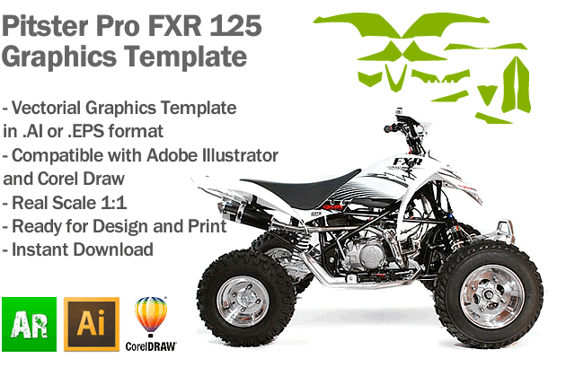 Pitster Pro FXR 125 ATV Quad Graphics Template