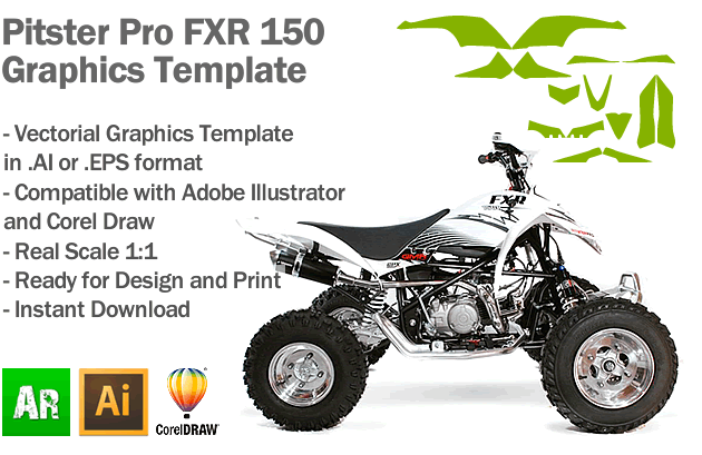 Pitster Pro FXR 150 ATV Quad Graphics Template