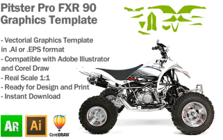 Pitster Pro FXR 90 ATV Quad Graphics Template