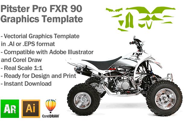 Pitster Pro FXR 90 ATV Quad Graphics Template