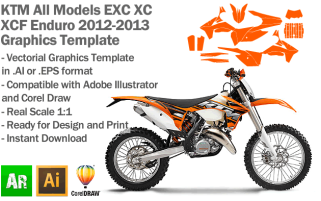 KTM EXC XC XCF Enduro All Models 2012 2013 Graphics Template