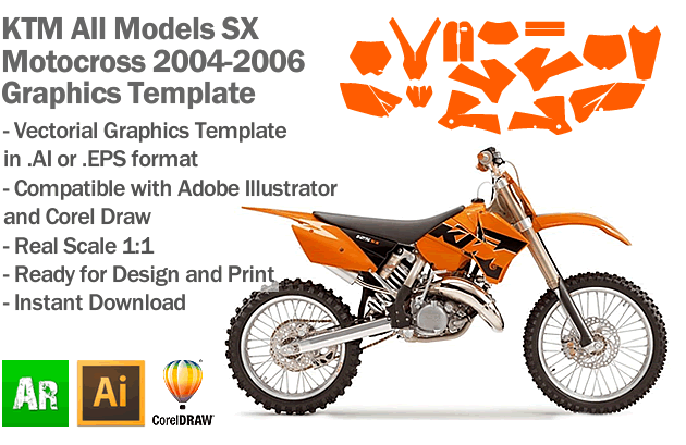 KTM SX MX Motocross All Models 2004 2005 2006 Graphics Template
