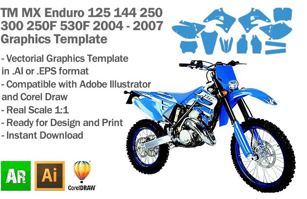 TM All Models Enduro MX Motocross 2004 2005 2006 2007 Graphics Template