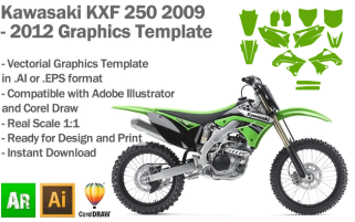 Kawasaki KXF 250 MX Motocross 2009 2010 2011 2012 Graphics Template