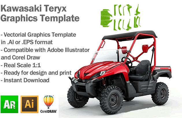 Kawasaki Teryx ATV Quad Graphics Template