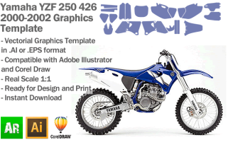 Yamaha YZF 250 426 MX Motocross 2000 2001 2002 Graphics Template