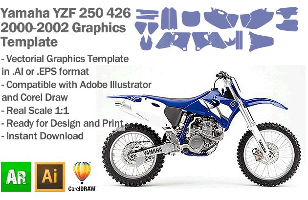 Yamaha YZF 250 426 MX Motocross 2000 2001 2002 Graphics Template