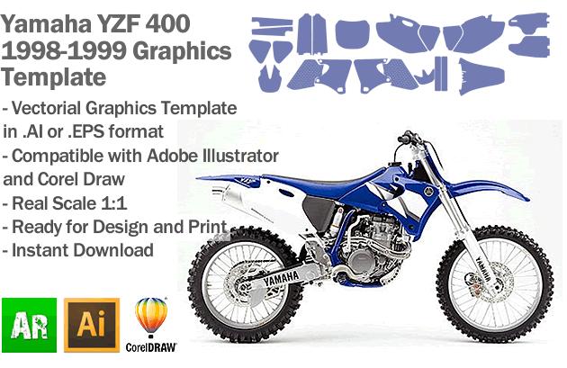 Yamaha YZF 400 MX Motocross 1998 1999 Graphics Template