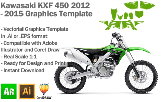 Kawasaki KXF 450 MX Motocross 2012 2013 2014 2015 Graphics Template