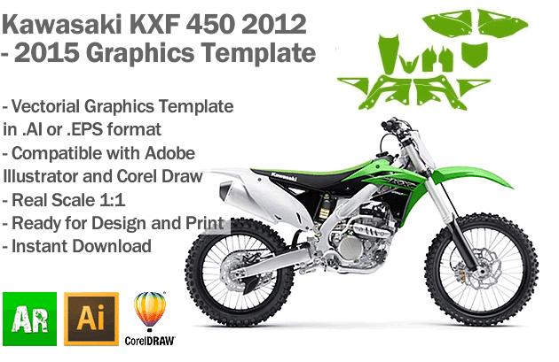 Kawasaki KXF 450 MX Motocross 2012 2013 2014 2015 Graphics Template