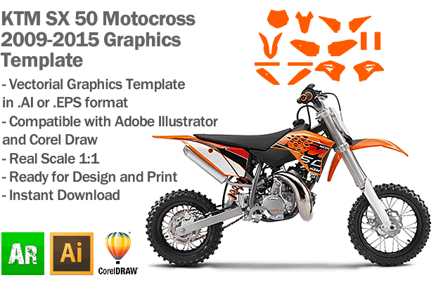 KTM SX 50 MX Motocross 2009 2010 2011 2012 2013 2014 2015 Graphics Template