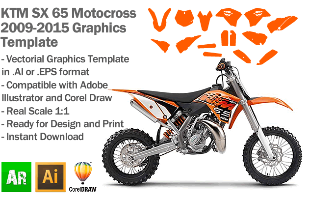 KTM SX 65 MX Motocross 2009 2010 2011 2012 2013 2014 2015 Graphics Template