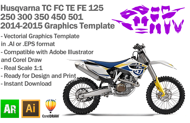 Husqvarna TC FC TE FE 125 250 300 350 450 501 Enduro MX Motocross 2014 2015 Graphics Template