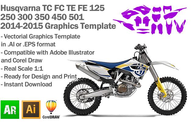 Husqvarna TC FC TE FE 125 250 300 350 450 501 Enduro MX Motocross 2014 2015 Graphics Template