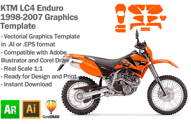 KTM LC4 Enduro Supermoto 1998 1999 2000 2001 2002 2003 2004 2005 2006 2007 Graphics Template