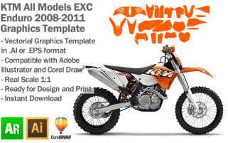 KTM EXC XC XCF Enduro All Models 2008 2009 2010 2011 Graphics Template