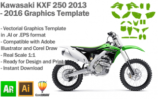 Kawasaki KXF 250 MX Motocross 2013 2014 2015 2016 Graphics Template