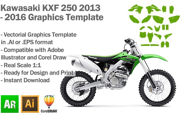 Kawasaki KXF 250 MX Motocross 2013 2014 2015 2016 Graphics Template