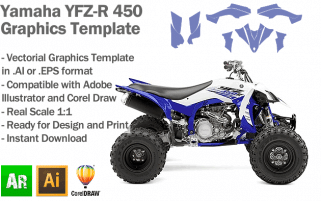 Yamaha YFZ-R 450 ATV Quad 2014 2015 2016 2017 Graphics Template