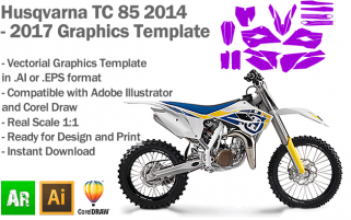Husqvarna TC 85 MX Motocross 2014 2015 2016 2017 Graphics Template
