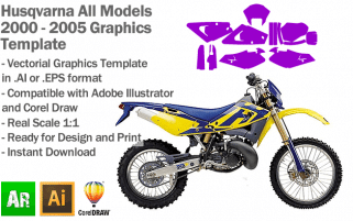 Husqvarna Enduro MX Motocross All Models 2000 2001 2002 2003 2004 2005 Graphics Template