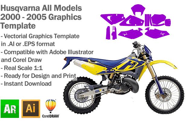 Husqvarna Enduro MX Motocross All Models 2000 2001 2002 2003 2004 2005 Graphics Template