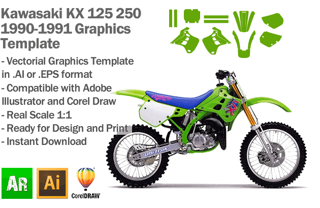 Kawasaki KX 125 250 MX Motocross 1990 1991 Graphics Template